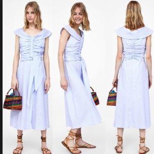 Zara Stripped Off  shoulder Kate Middleton  Dress.